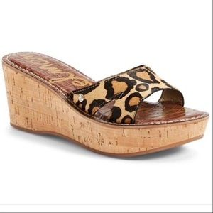 "Sam Edelman ""Reid"" Calf Hair Wedge Slide Sandals"